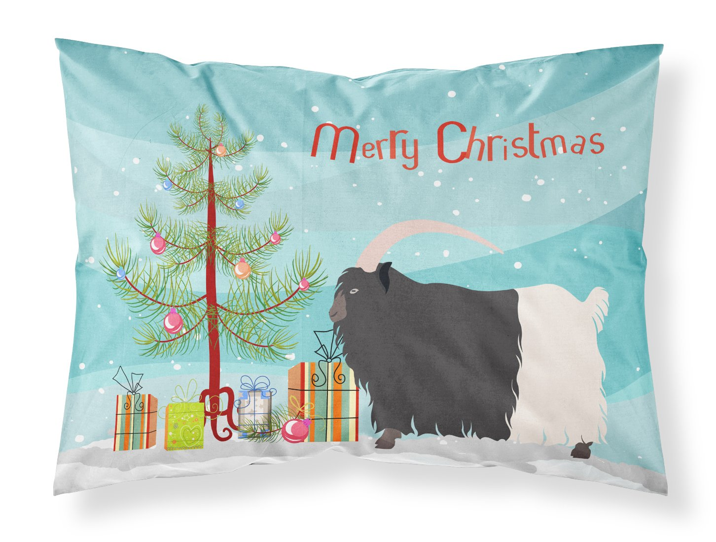 Welsh Black-Necked Goat Christmas Fabric Standard Pillowcase BB9254PILLOWCASE by Caroline's Treasures
