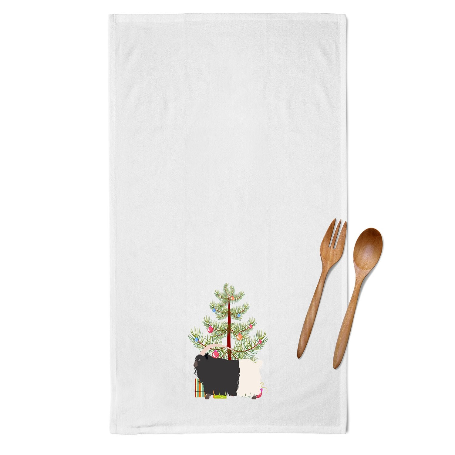 Welsh Black-Necked Goat Christmas White Kitchen Towel Set of 2 BB9254WTKT by Caroline's Treasures
