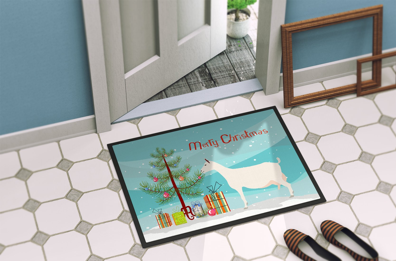 Saanen Goat Christmas Indoor or Outdoor Mat 24x36 BB9256JMAT by Caroline's Treasures