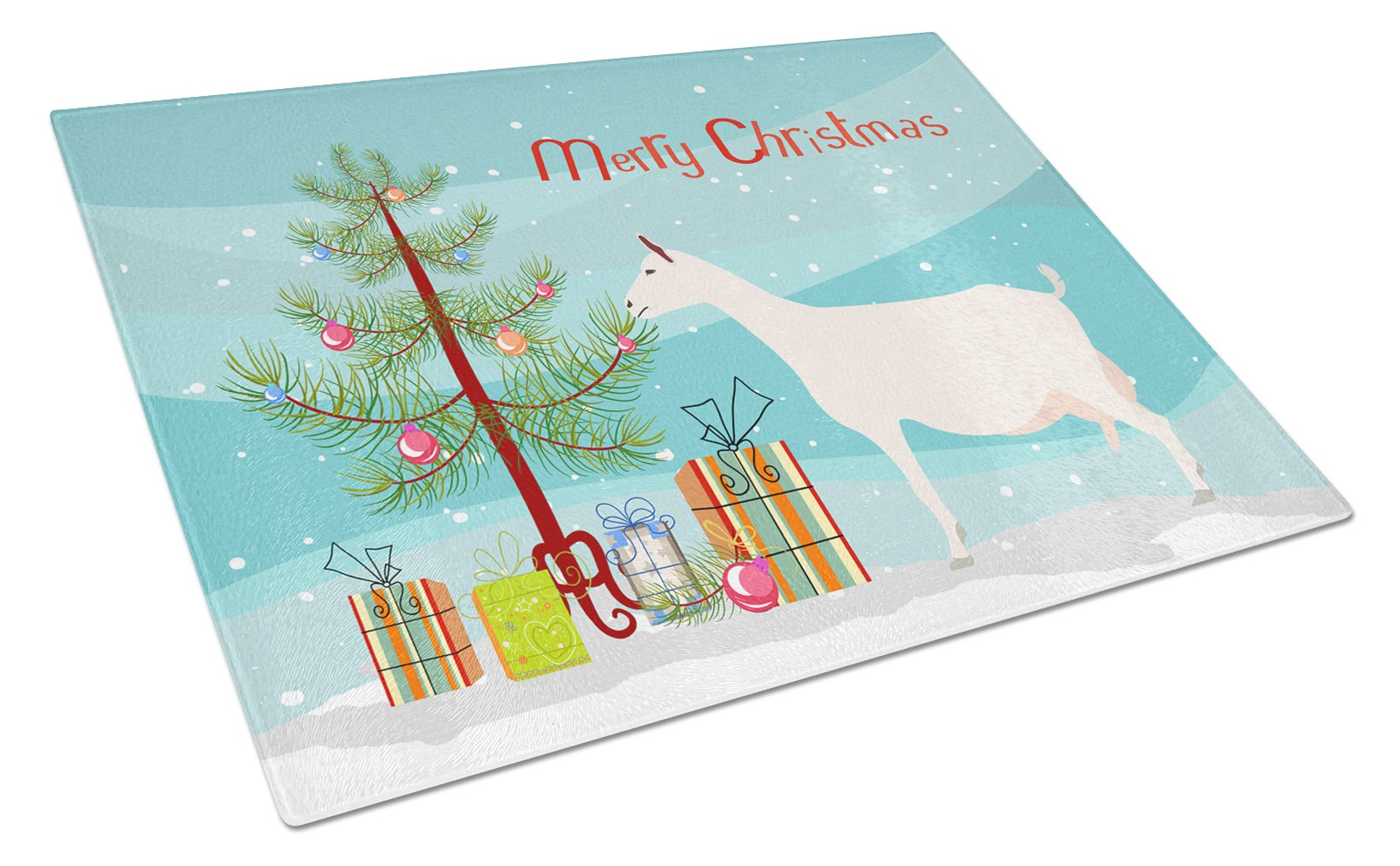 Saanen Goat Christmas Glass Cutting Board Large BB9256LCB by Caroline's Treasures