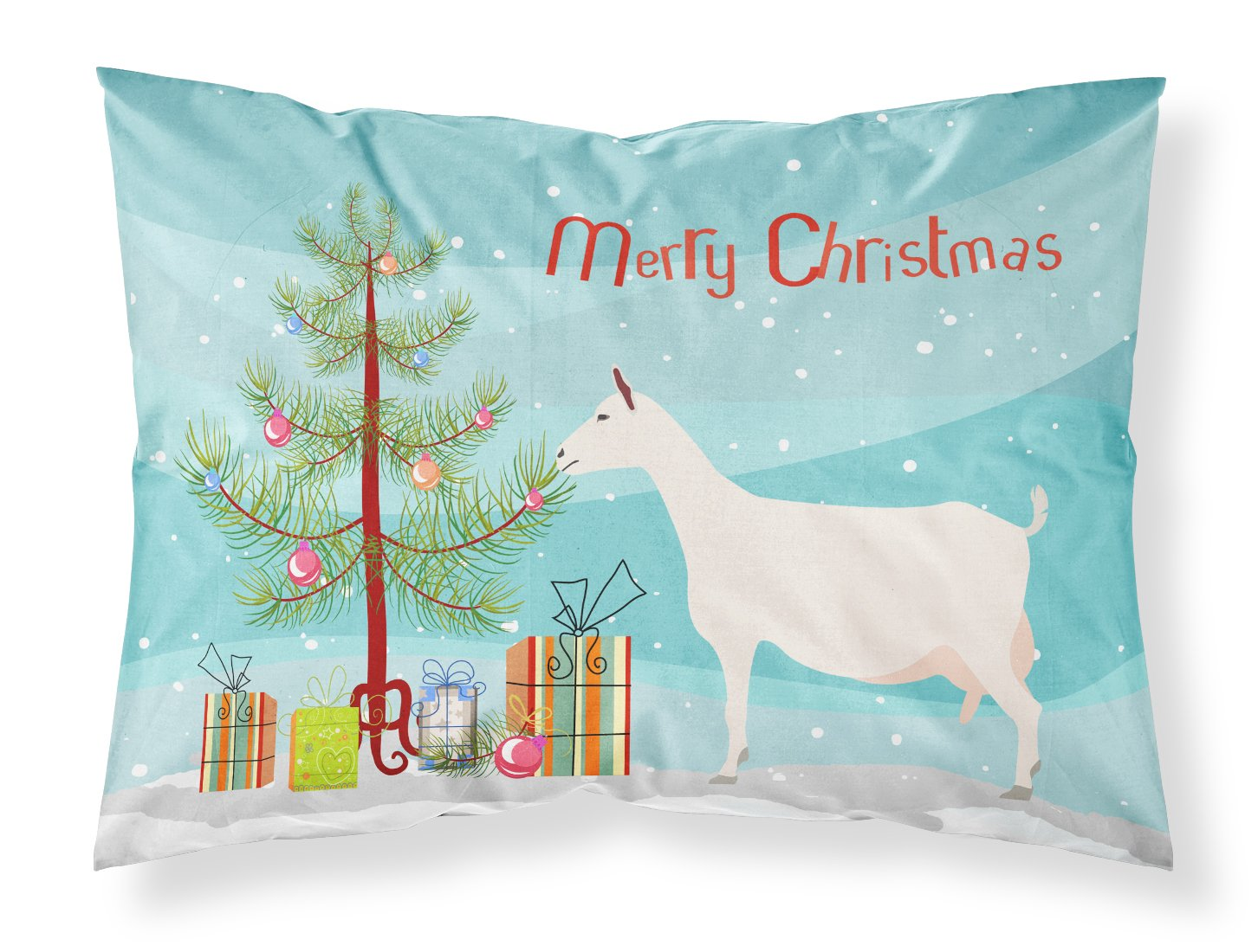 Saanen Goat Christmas Fabric Standard Pillowcase BB9256PILLOWCASE by Caroline's Treasures