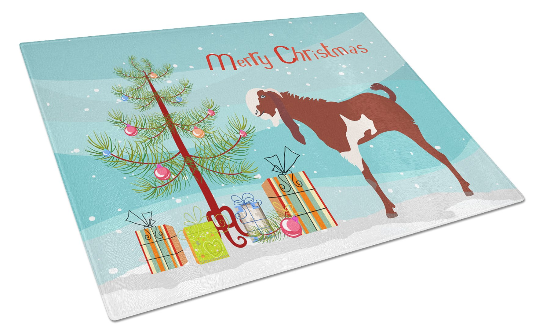 Jamnapari Goat Christmas Glass Cutting Board Large BB9257LCB by Caroline's Treasures