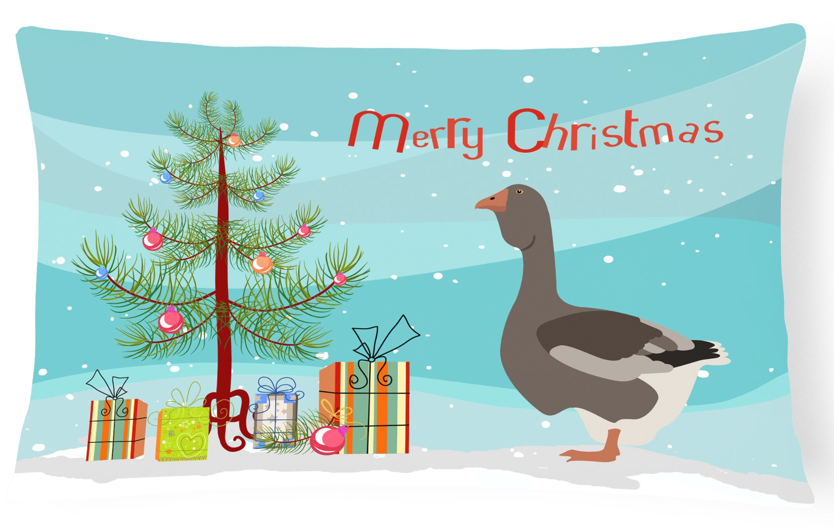 Toulouse Goose Christmas Canvas Fabric Decorative Pillow BB9264PW1216 by Caroline's Treasures