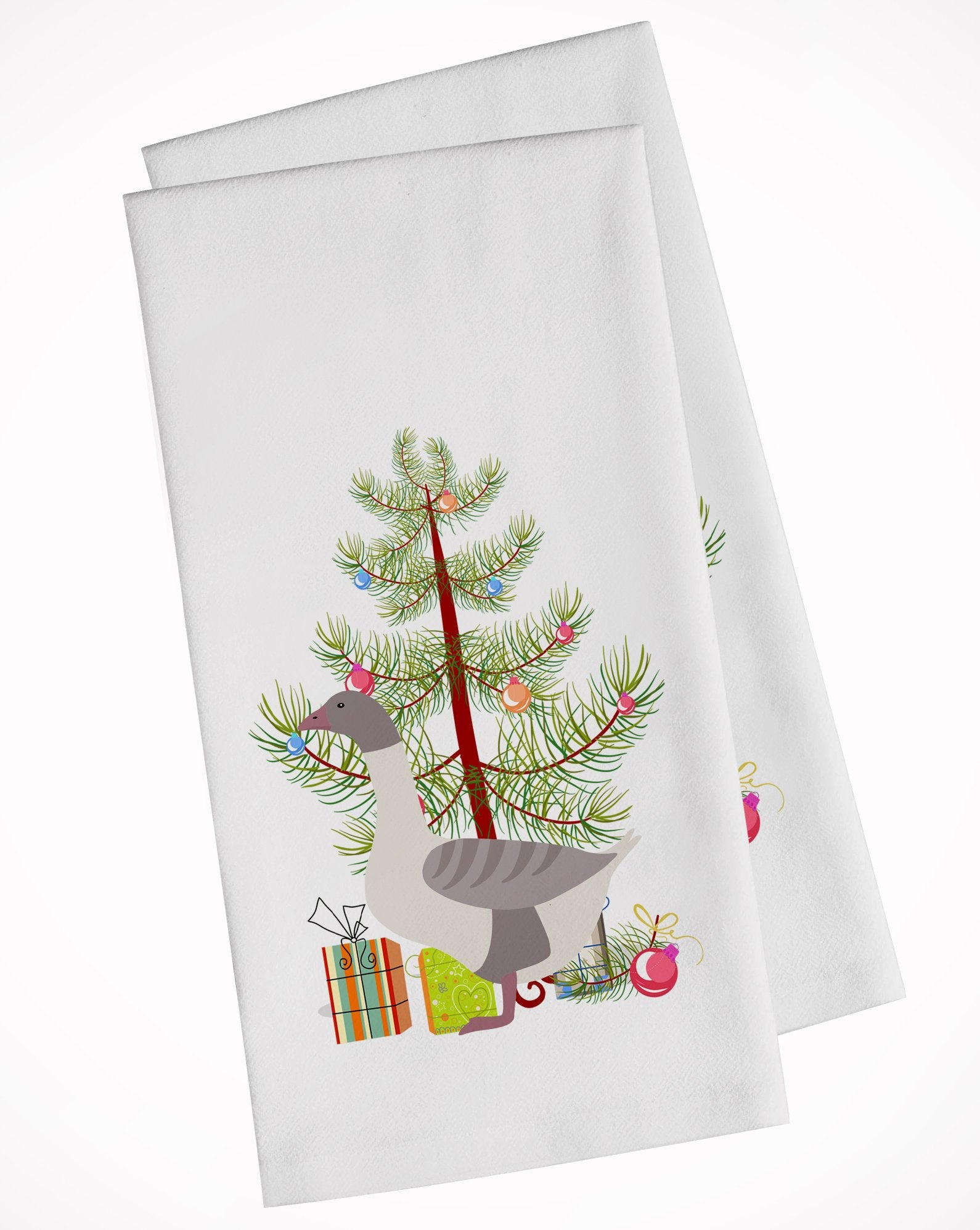 Buff Grey Back Goose Christmas White Kitchen Towel Set of 2 BB9268WTKT by Caroline's Treasures