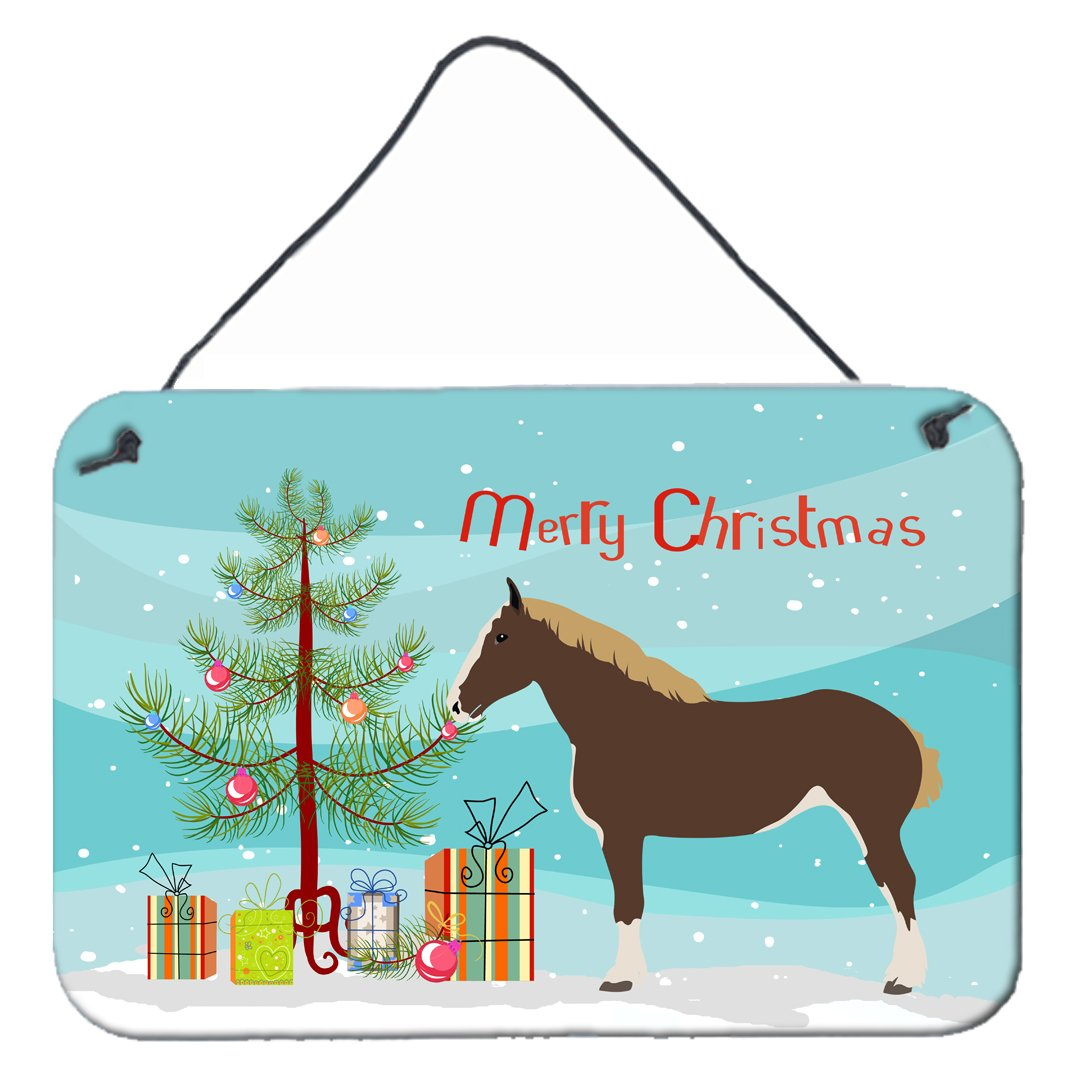 Percheron Horse Christmas Wall or Door Hanging Prints BB9273DS812 by Caroline's Treasures