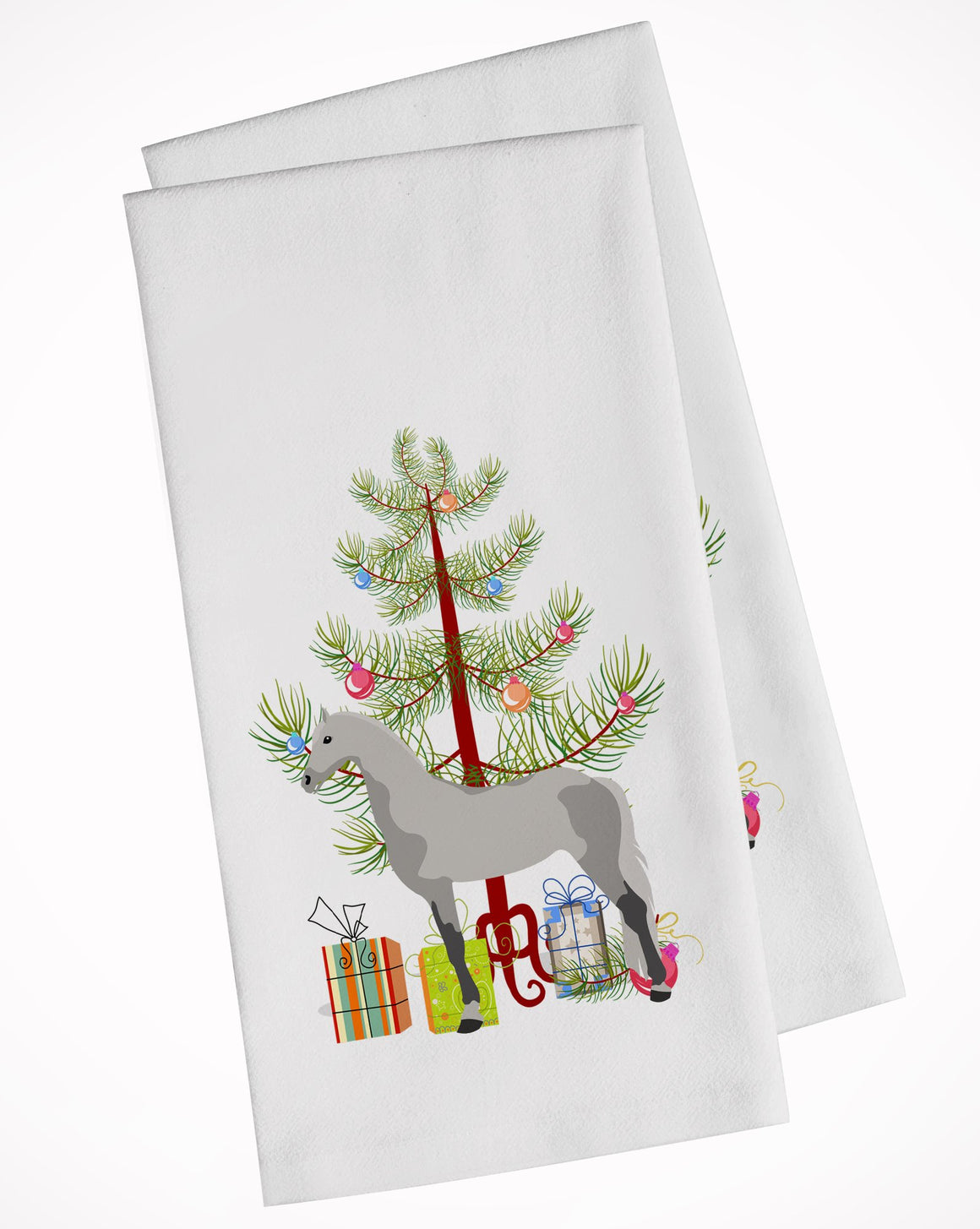 Buy this Orlov Trotter Horse Christmas White Kitchen Towel Set of 2 BB9275WTKT
