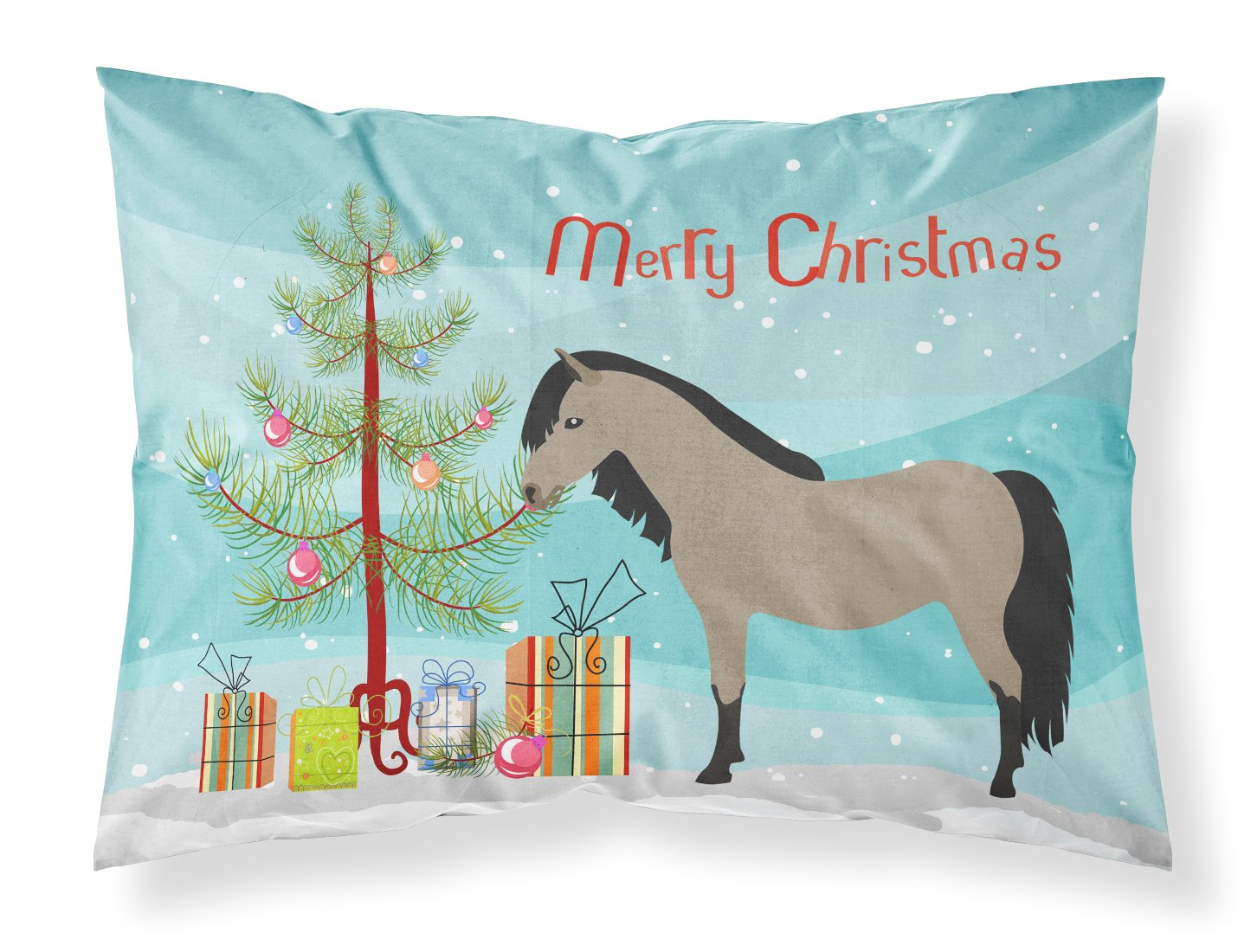 Welsh Pony Horse Christmas Fabric Standard Pillowcase BB9277PILLOWCASE by Caroline's Treasures
