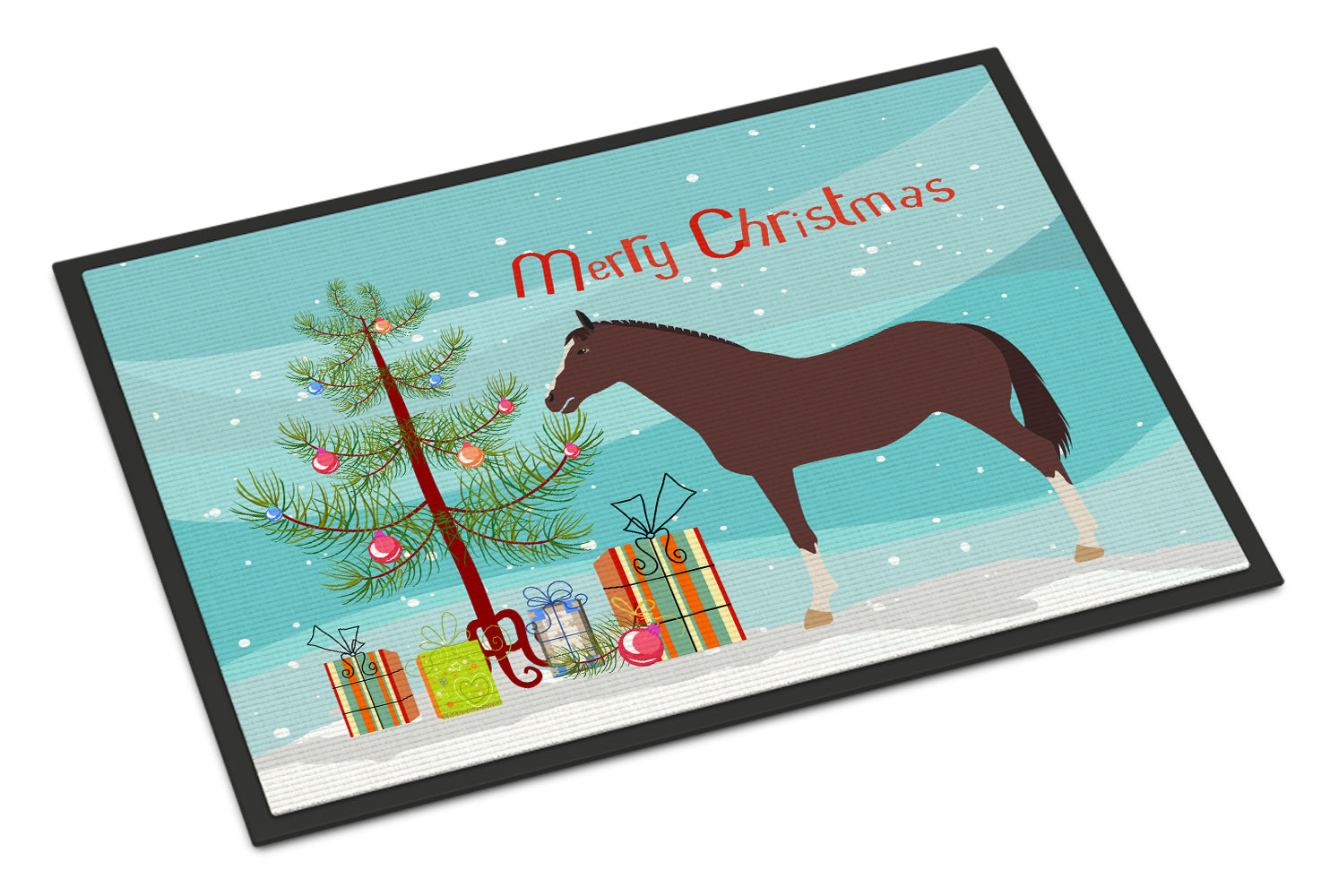 Buy this English Thoroughbred Horse Christmas Indoor or Outdoor Mat 18x27 BB9280MAT