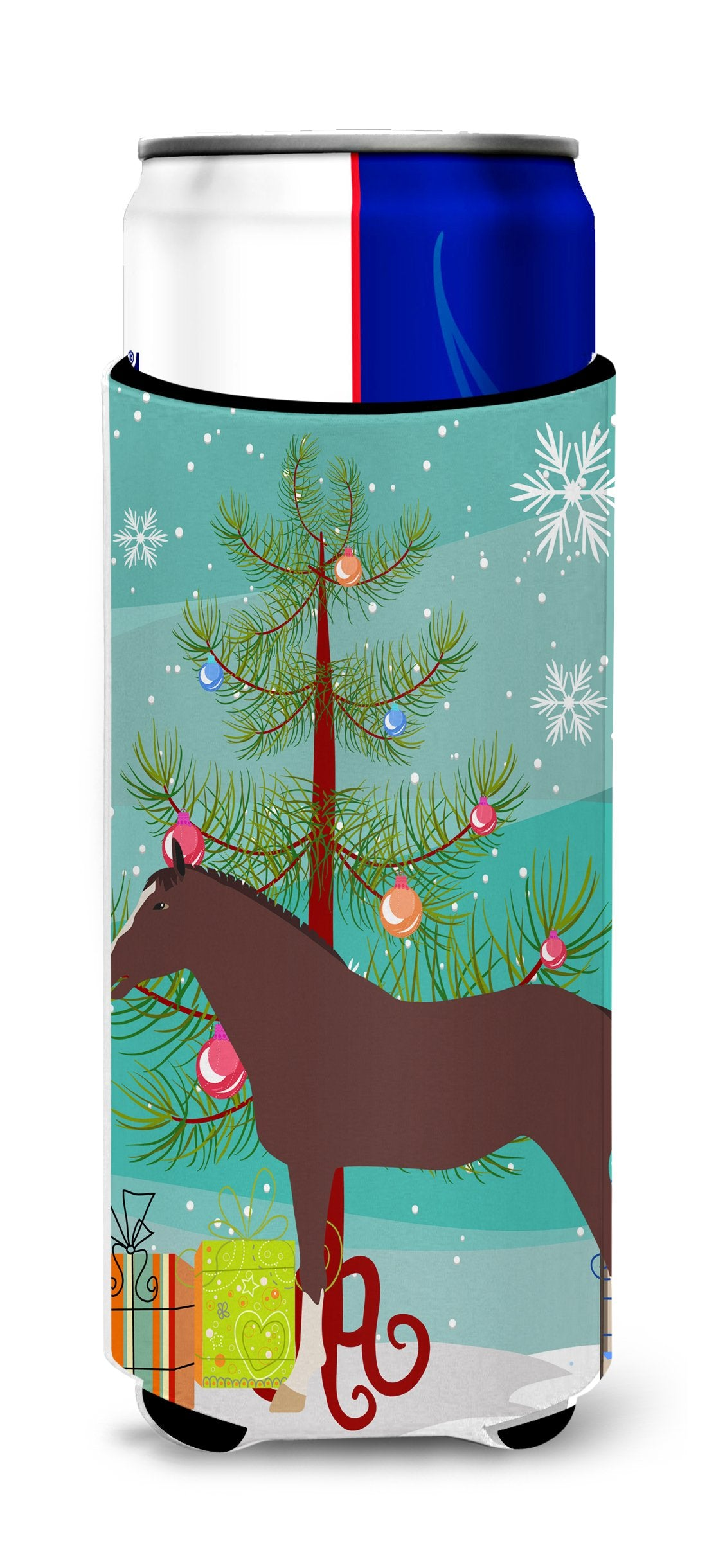 English Thoroughbred Horse Christmas Michelob Ultra Hugger for slim cans BB9280MUK by Caroline's Treasures