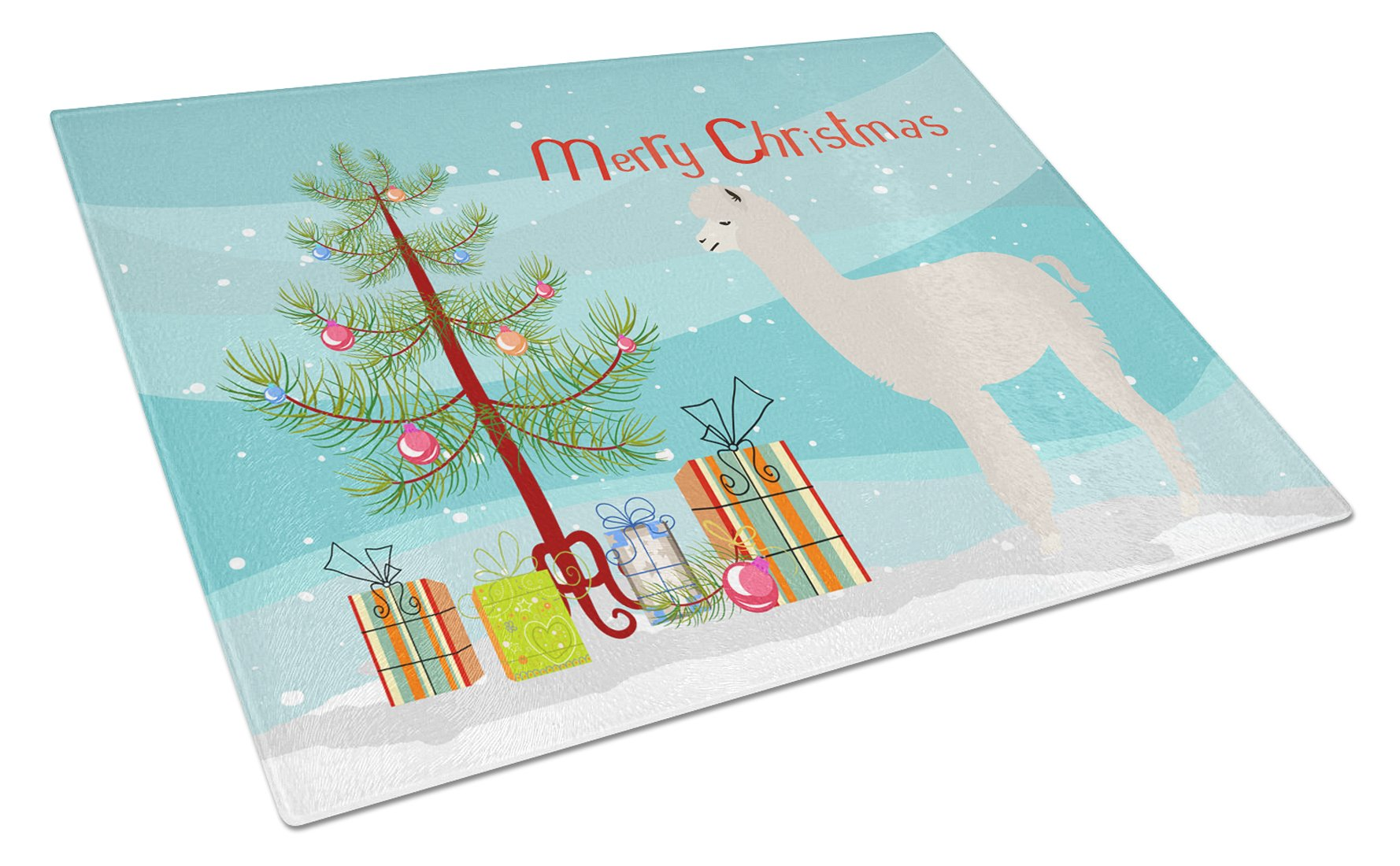 Buy this Alpaca Christmas Glass Cutting Board Large BB9286LCB