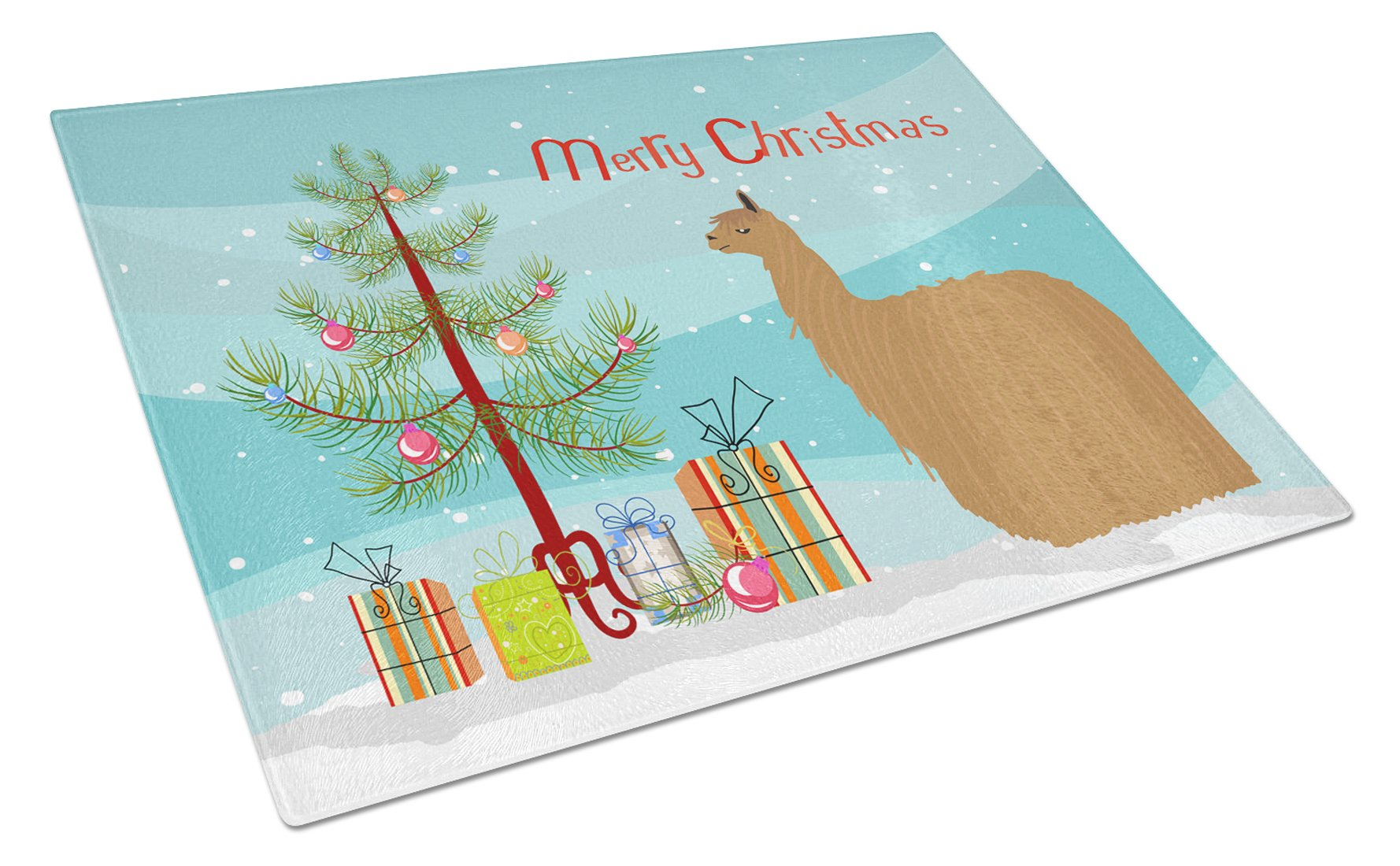 Buy this Alpaca Suri Christmas Glass Cutting Board Large BB9287LCB