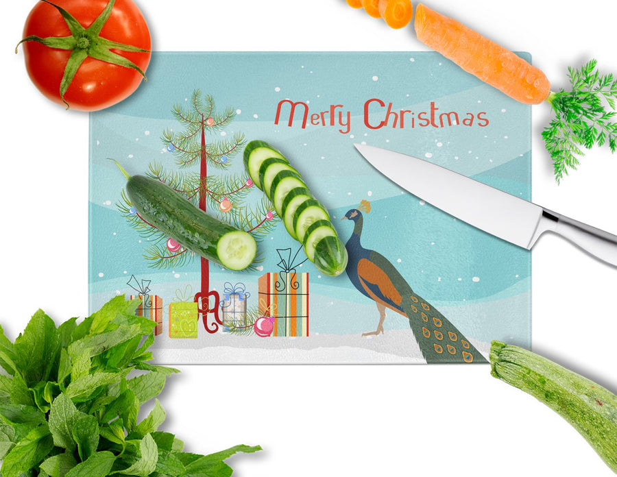 Buy this Indian Peacock Peafowl Christmas Glass Cutting Board Large BB9292LCB