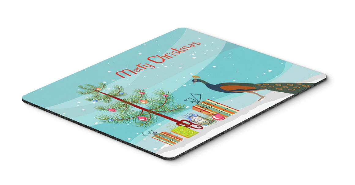 Buy this Indian Peacock Peafowl Christmas Mouse Pad, Hot Pad or Trivet BB9292MP