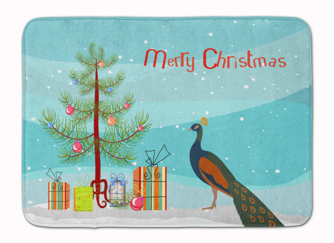 Buy this Indian Peacock Peafowl Christmas Machine Washable Memory Foam Mat BB9292RUG