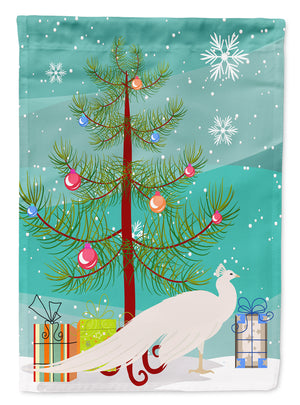Buy this White Peacock Peafowl Christmas Flag Canvas House Size BB9293CHF