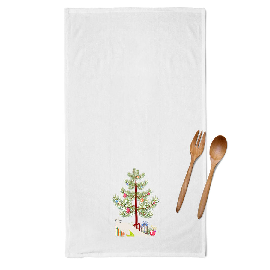 Buy this White Peacock Peafowl Christmas White Kitchen Towel Set of 2 BB9293WTKT