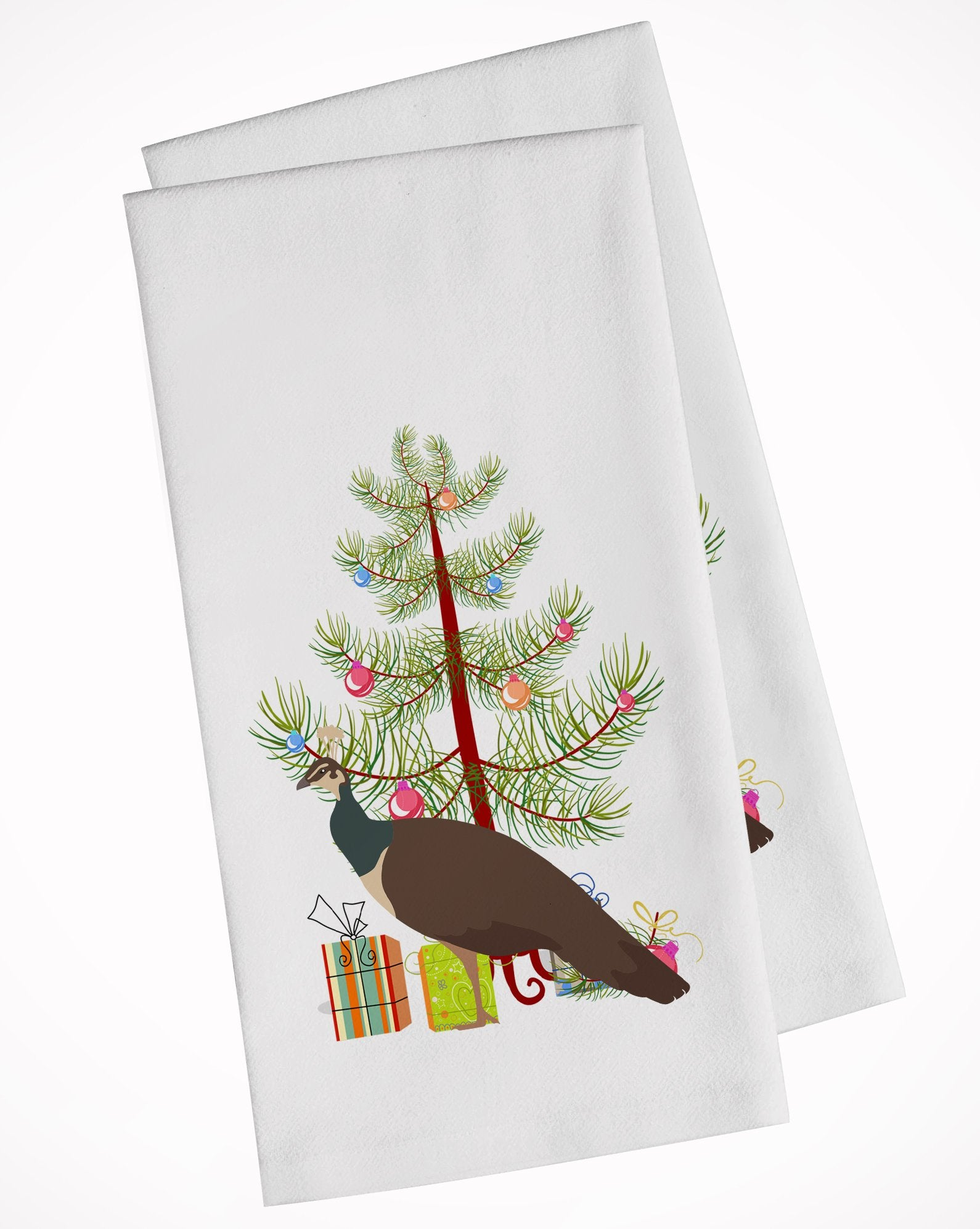 Buy this Indian Peahen Peafowl Christmas White Kitchen Towel Set of 2 BB9294WTKT