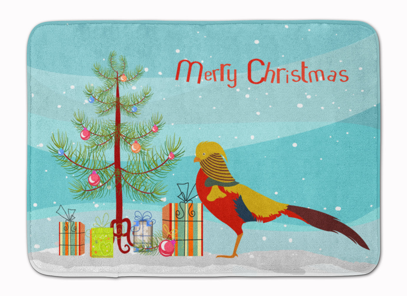 Golden or Chinese Pheasant Christmas Machine Washable Memory Foam Mat BB9295RUG by Caroline's Treasures