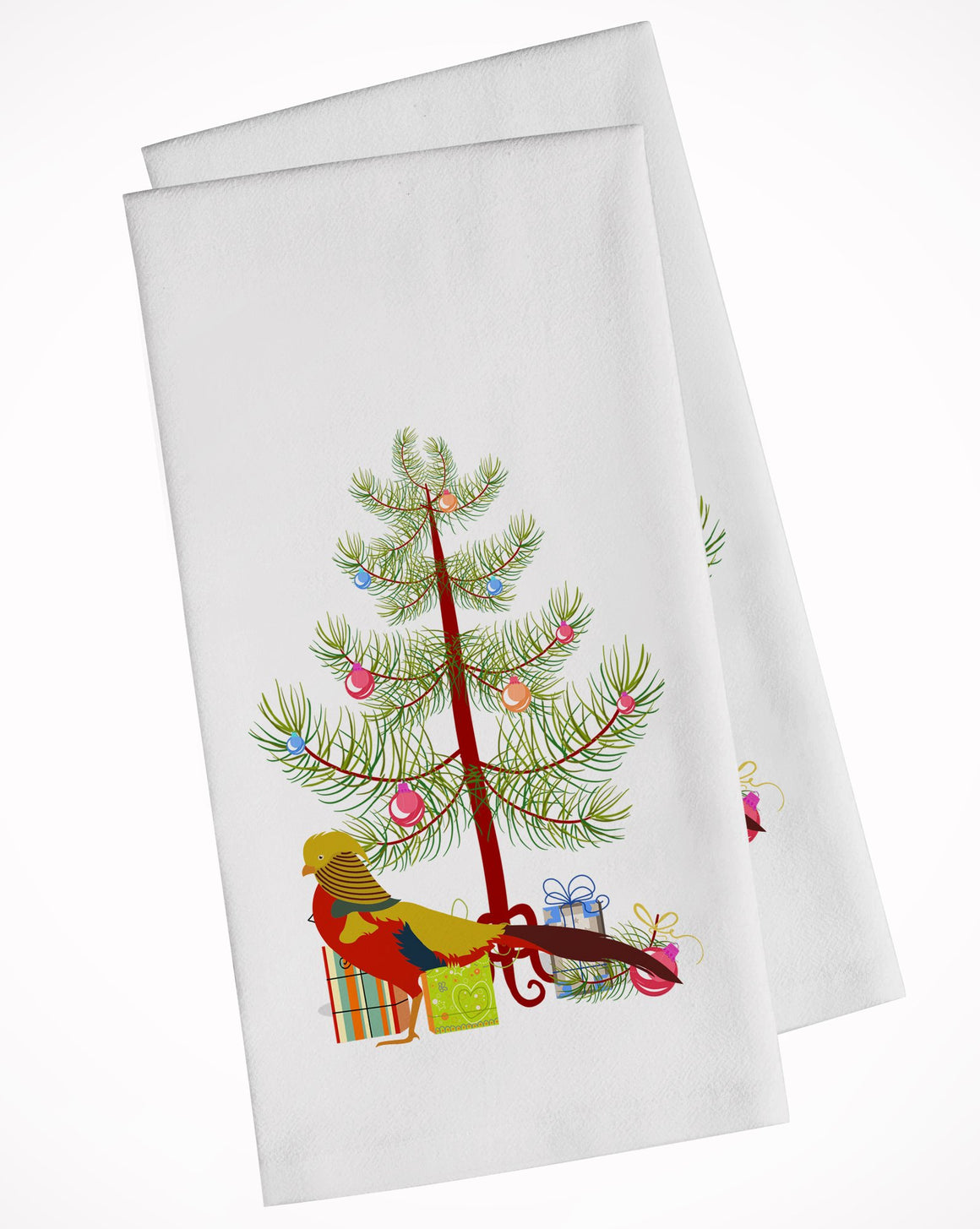 Buy this Golden or Chinese Pheasant Christmas White Kitchen Towel Set of 2 BB9295WTKT
