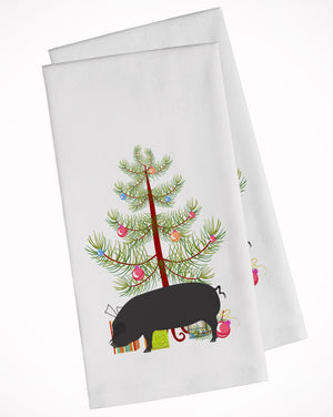 Buy this Devon Large Black Pig Christmas White Kitchen Towel Set of 2 BB9298WTKT
