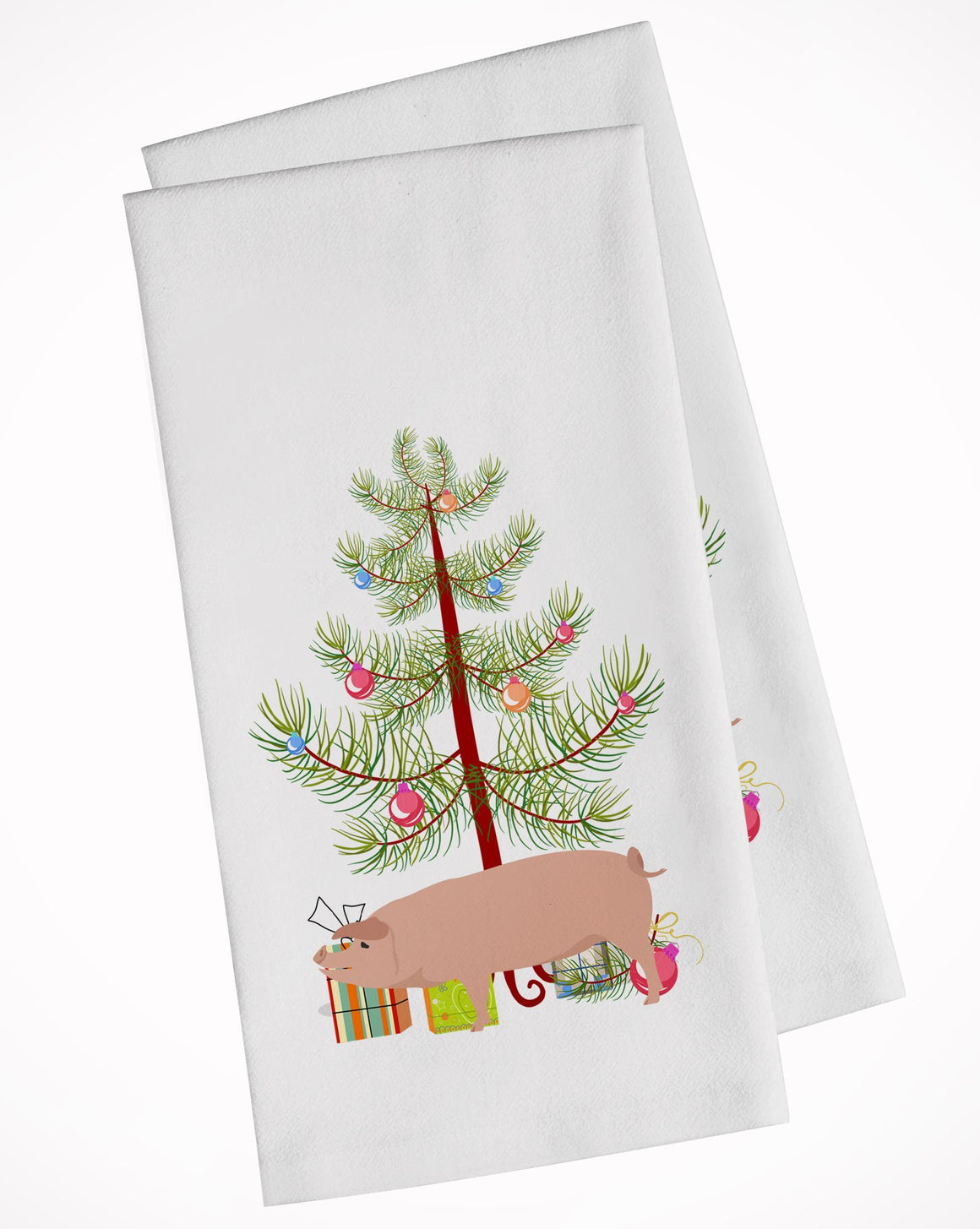 Buy this American Landrace Pig Christmas White Kitchen Towel Set of 2 BB9299WTKT