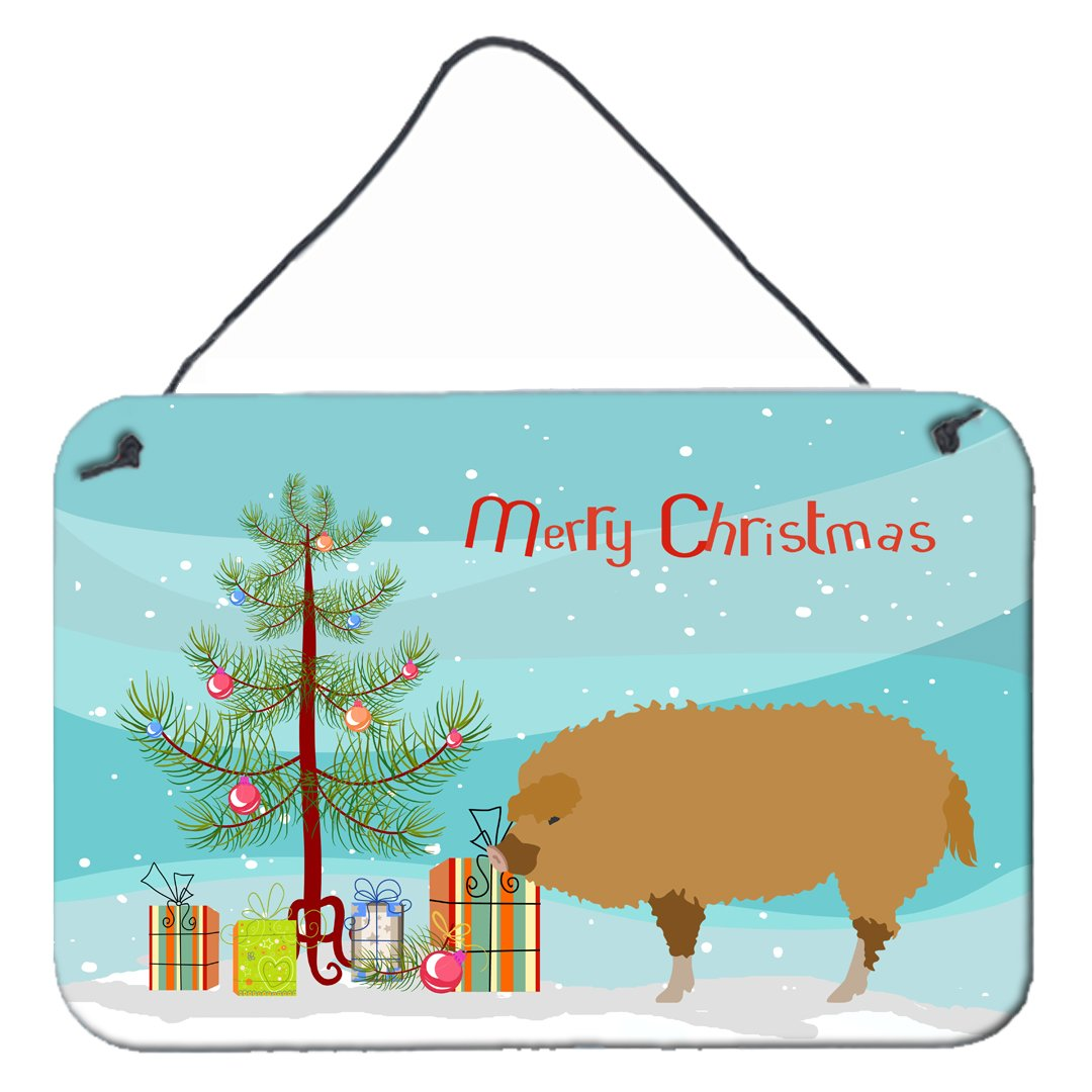 Hungarian Mangalica Pig Christmas Wall or Door Hanging Prints BB9301DS812 by Caroline's Treasures