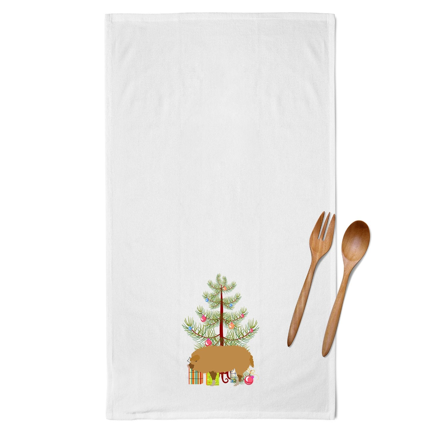 Hungarian Mangalica Pig Christmas White Kitchen Towel Set of 2 BB9301WTKT by Caroline's Treasures