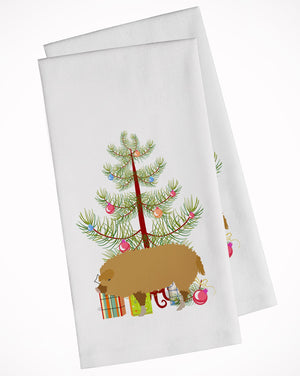 Buy this Hungarian Mangalica Pig Christmas White Kitchen Towel Set of 2 BB9301WTKT