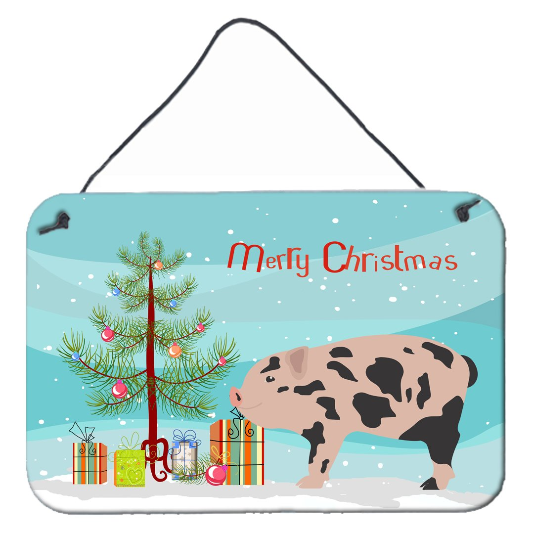 Mini Miniature Pig Christmas Wall or Door Hanging Prints BB9302DS812 by Caroline's Treasures