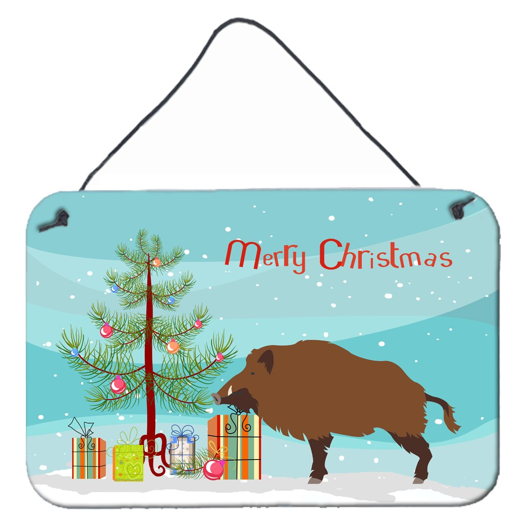 Wild Boar Pig Christmas Wall or Door Hanging Prints BB9303DS812 by Caroline's Treasures