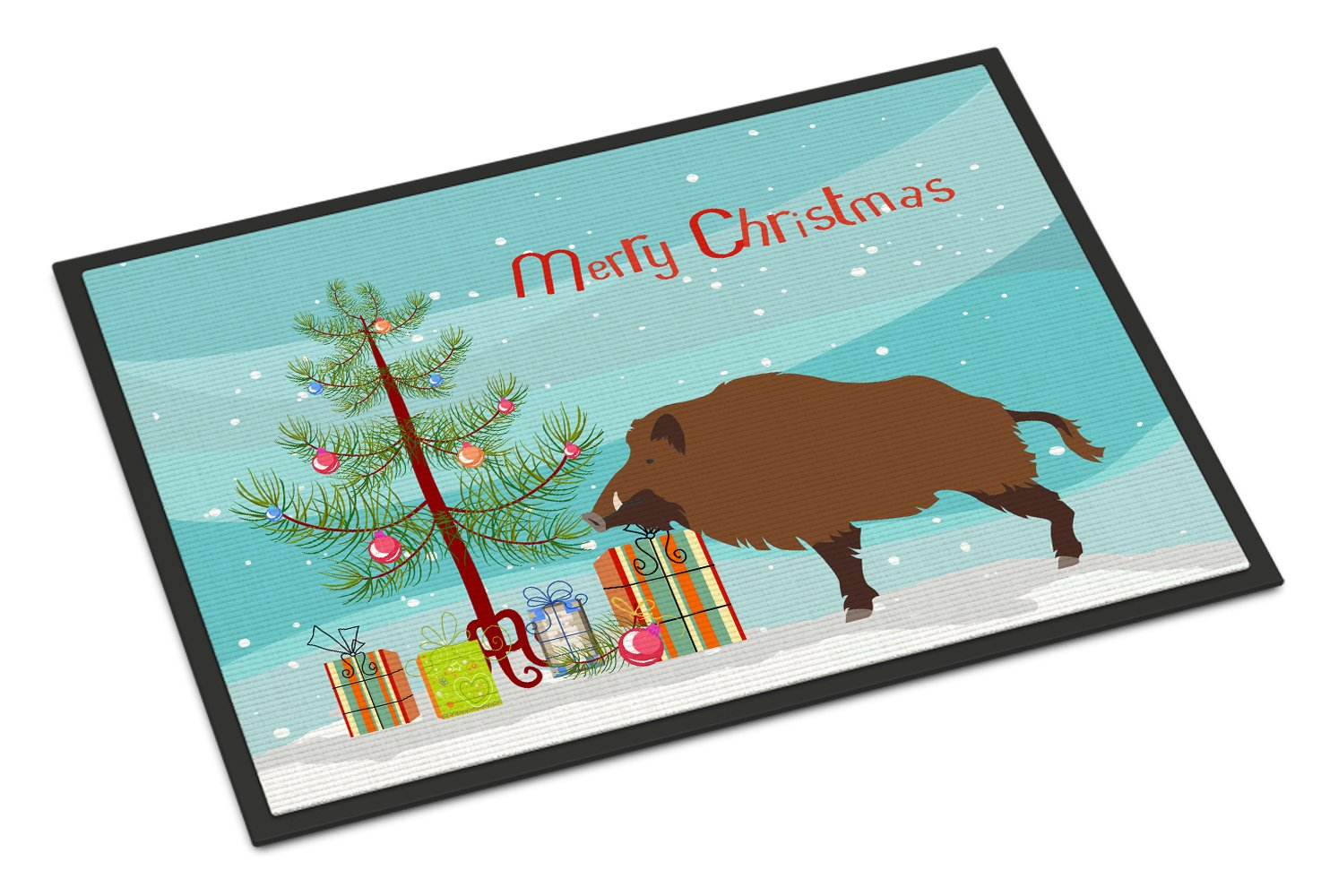 Buy this Wild Boar Pig Christmas Indoor or Outdoor Mat 24x36 BB9303JMAT