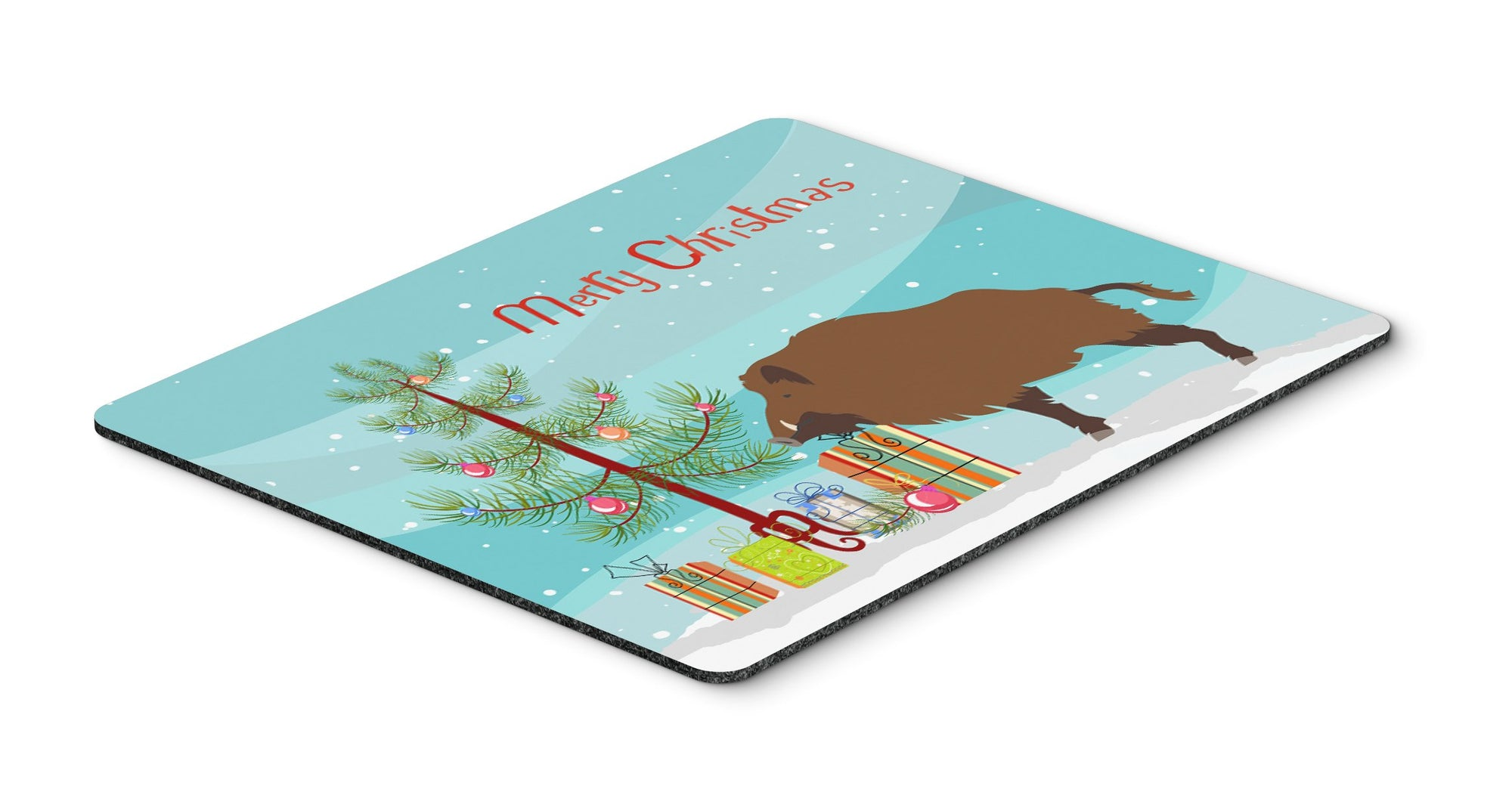 Buy this Wild Boar Pig Christmas Mouse Pad, Hot Pad or Trivet BB9303MP