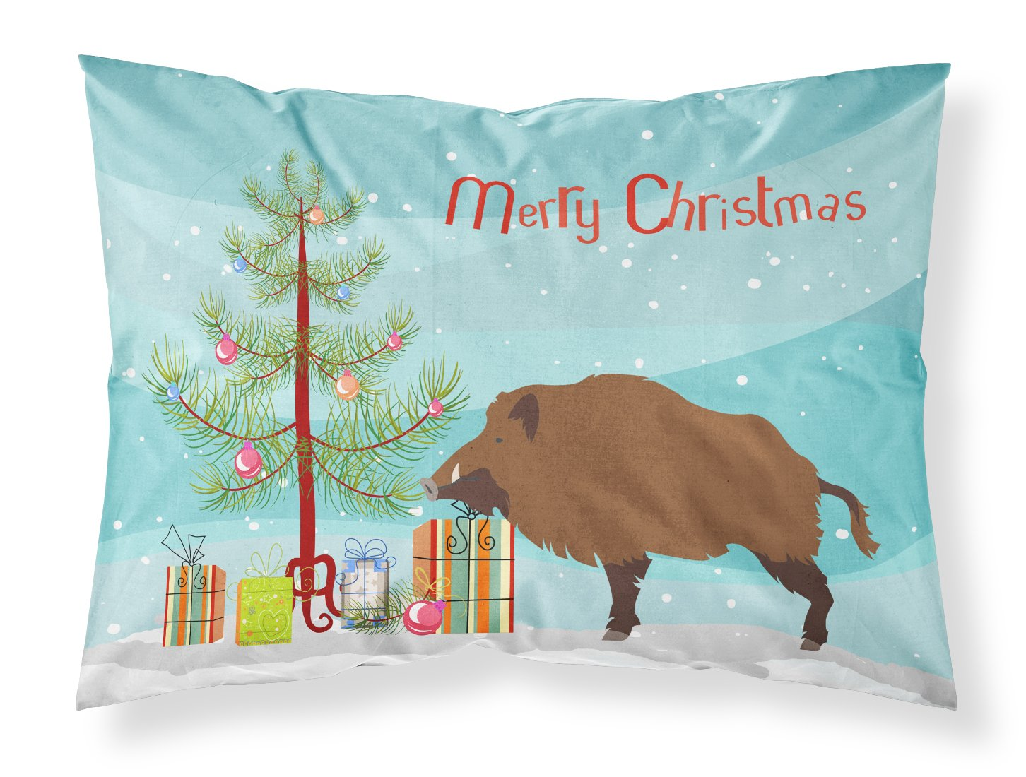 Wild Boar Pig Christmas Fabric Standard Pillowcase BB9303PILLOWCASE by Caroline's Treasures