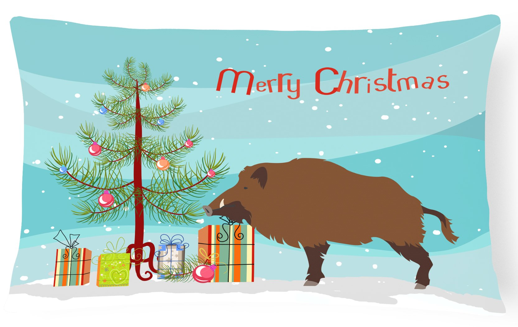 Buy this Wild Boar Pig Christmas Canvas Fabric Decorative Pillow BB9303PW1216