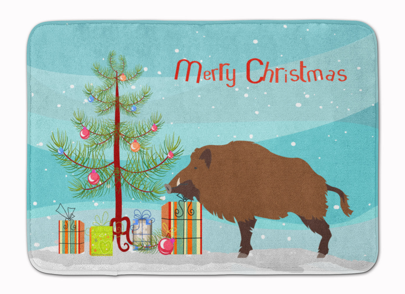 Buy this Wild Boar Pig Christmas Machine Washable Memory Foam Mat BB9303RUG