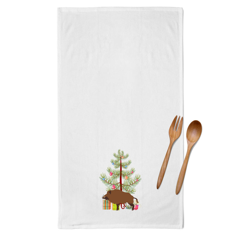 Buy this Wild Boar Pig Christmas White Kitchen Towel Set of 2 BB9303WTKT