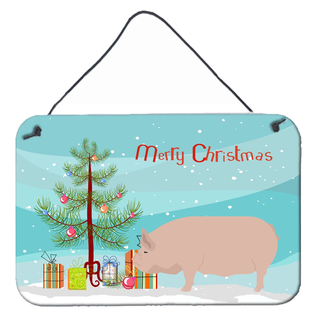 Welsh Pig Christmas Wall or Door Hanging Prints BB9304DS812 by Caroline's Treasures