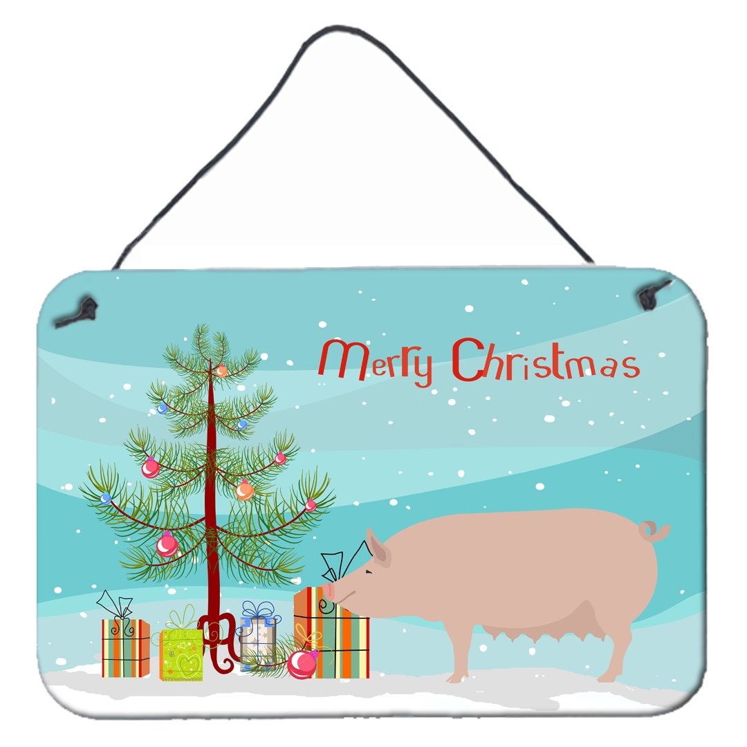 English Large White Pig Christmas Wall or Door Hanging Prints BB9305DS812 by Caroline's Treasures