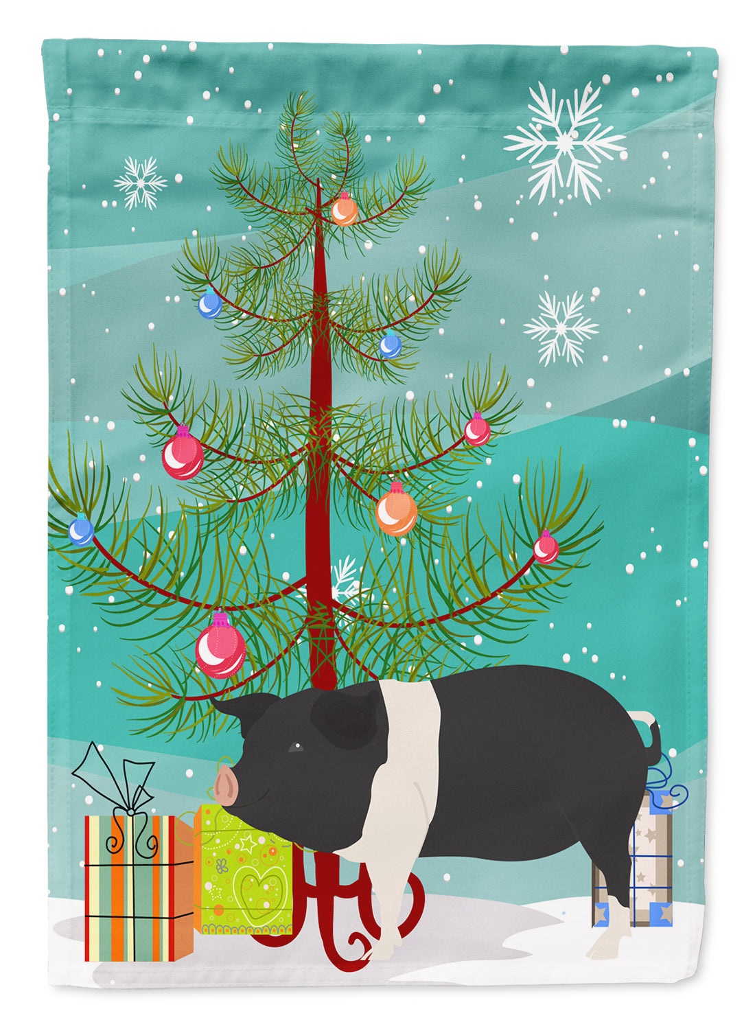 Hampshire Pig Christmas Flag Canvas House Size BB9306CHF by Caroline's Treasures