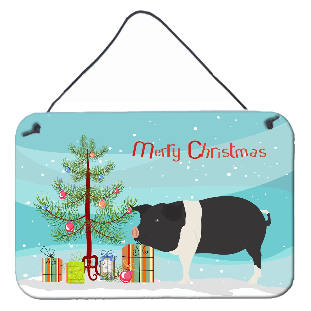 Hampshire Pig Christmas Wall or Door Hanging Prints BB9306DS812 by Caroline's Treasures