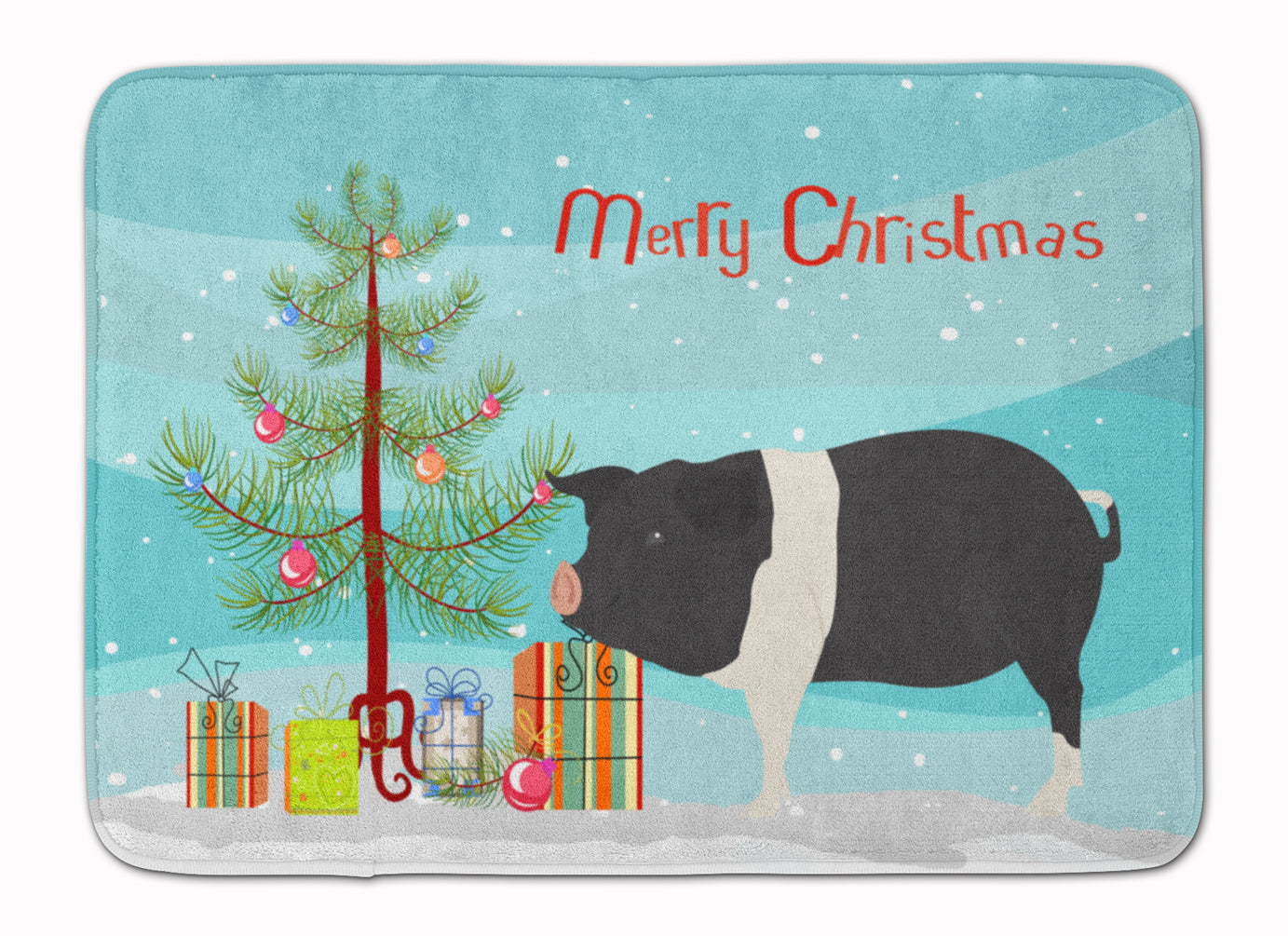 Hampshire Pig Christmas Machine Washable Memory Foam Mat BB9306RUG by Caroline's Treasures