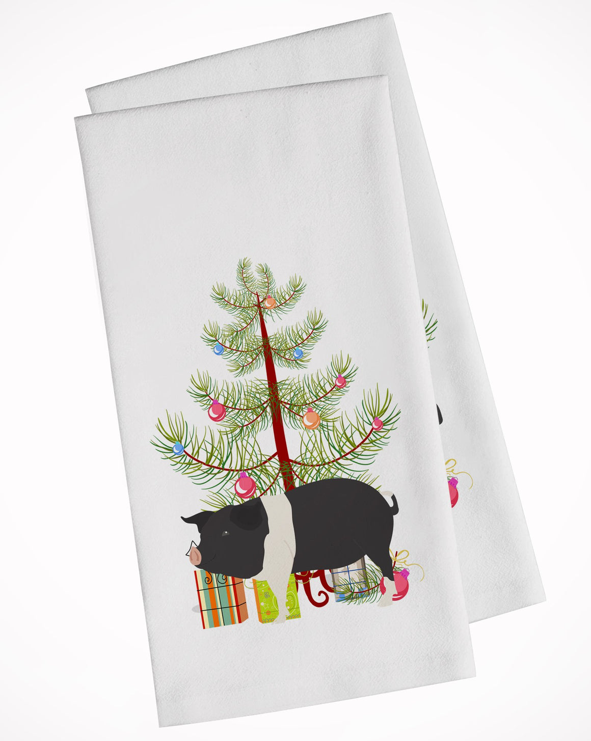 Buy this Hampshire Pig Christmas White Kitchen Towel Set of 2 BB9306WTKT