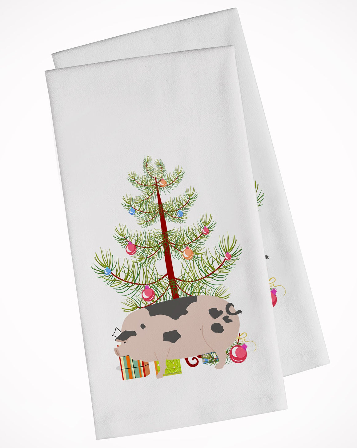 Buy this Gloucester Old Spot Pig Christmas White Kitchen Towel Set of 2 BB9307WTKT