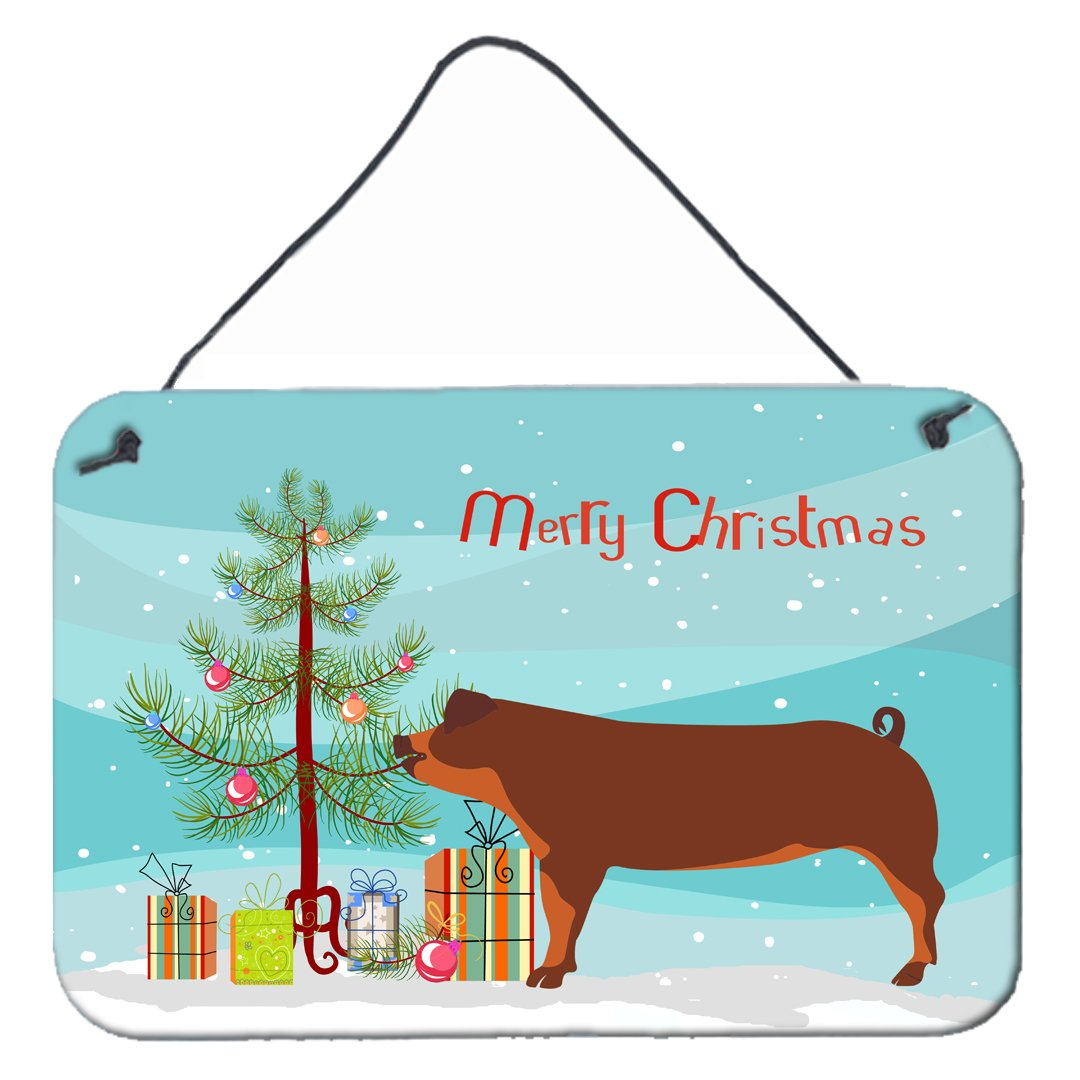 Duroc Pig Christmas Wall or Door Hanging Prints BB9309DS812 by Caroline's Treasures