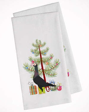 Buy this English Carrier Pigeon Christmas White Kitchen Towel Set of 2 BB9312WTKT