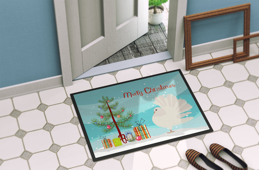 Buy this Silver Fantail Pigeon Christmas Indoor or Outdoor Mat 24x36 BB9317JMAT