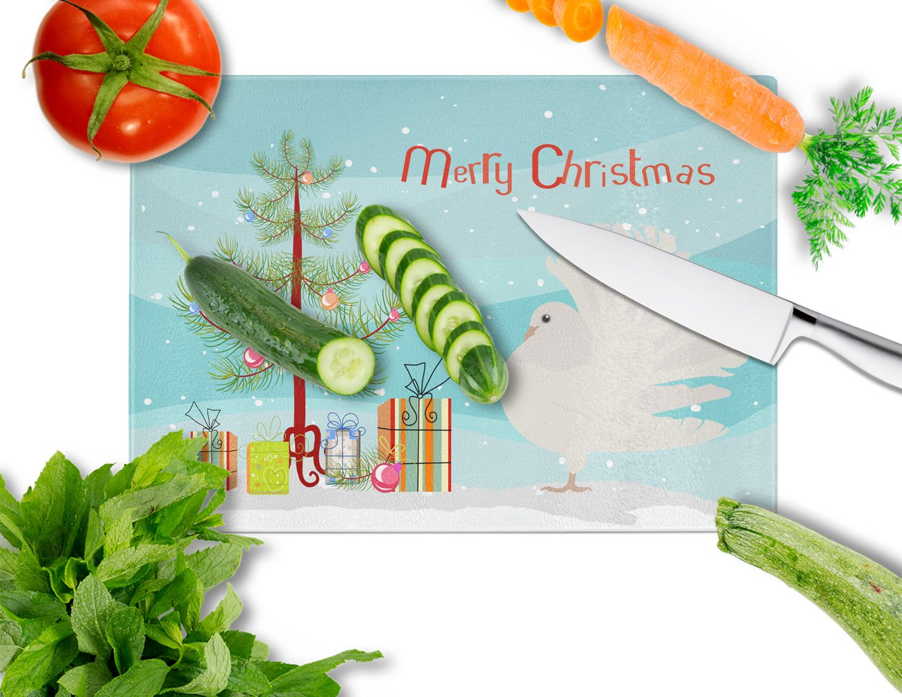 Silver Fantail Pigeon Christmas Glass Cutting Board Large BB9317LCB by Caroline's Treasures