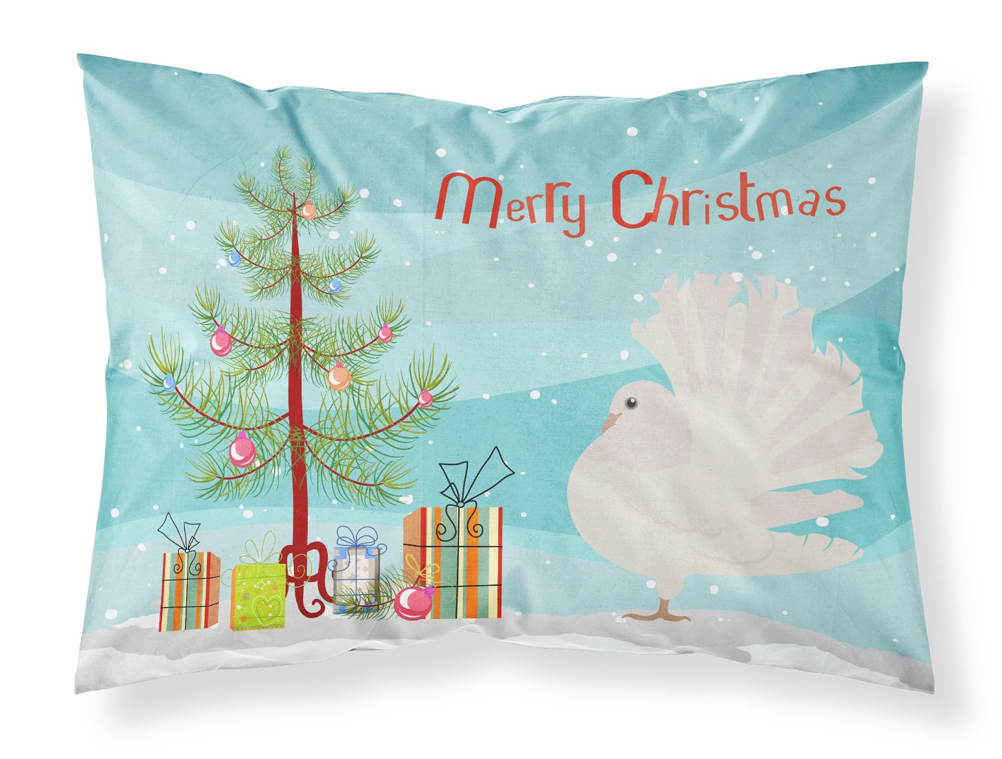 Silver Fantail Pigeon Christmas Fabric Standard Pillowcase BB9317PILLOWCASE by Caroline's Treasures