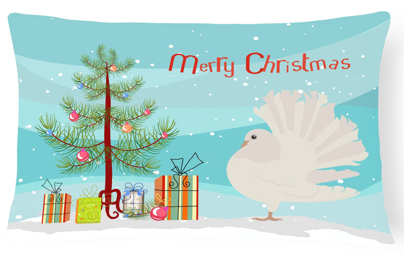 Buy this Silver Fantail Pigeon Christmas Canvas Fabric Decorative Pillow BB9317PW1216