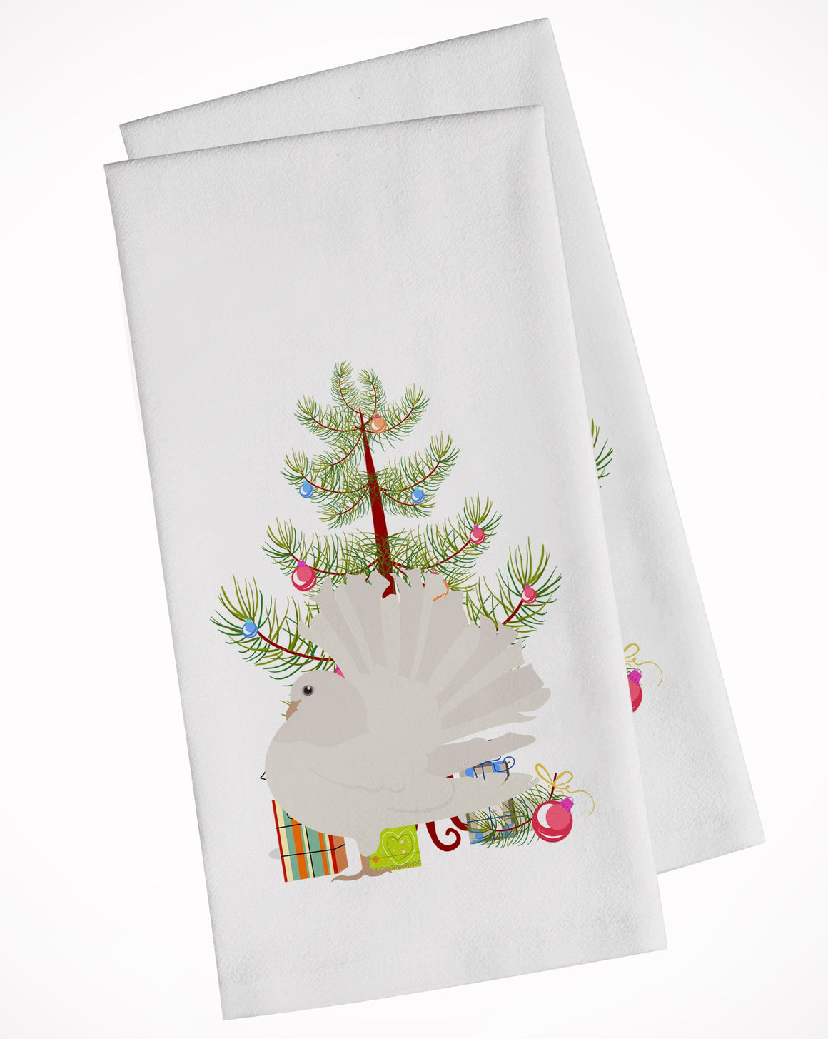 Buy this Silver Fantail Pigeon Christmas White Kitchen Towel Set of 2 BB9317WTKT
